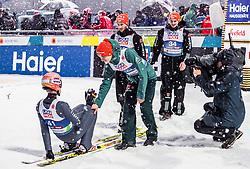 01.03.2019, Seefeld, AUT, FIS Weltmeisterschaften Ski Nordisch, Seefeld 2019, Skisprung, Herren, im Bild Karl Geiger (GER), Stephan Leyhe (GER), Markus Eisenbichler (GER), Richard Freitag (GER) // Karl Geiger of Germany, Stephan Leyhe of Germany, Markus Eisenbichler of Germany, Richard Freitag of Germany during the men's Skijumping of FIS Nordic Ski World Championships 2019. Seefeld, Austria on 2019/03/01. EXPA Pictures © 2019, PhotoCredit: EXPA/ JFK