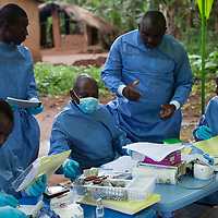 Billo Mamadou Diallo, Karamoko Sonah Camara, Alain Mukendi, Jean Francoi Tolno and Hawa Madi, part of Team Nine of the WHO Ebola vaccine trial staff, at work in Katongourou, Guinea .