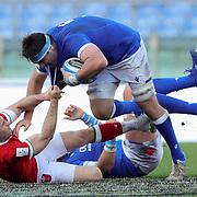 Roma 13/03/2021, Stadio Olimpico<br /> Guinness Six Nations 2021<br /> Italia vs Galles<br /> <br /> David Sisi placcato da Josh Adams
