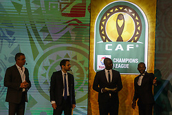 March 21, 2018 - Cairo, Egypt - Ambassadors for the CAF Interclubs, Angolan Gilberto and South African Mark Fish assist CAF General Secretary Amr Fahmy and CAF Deputy General Secretary Anthony Baffoe to conduct the draw. (Credit Image: © Islam Safwat/NurPhoto via ZUMA Press)