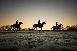 © Licensed to London News Pictures. 12/12/2017. Epsom, UK. Race horses are exercised on Epsom Downs after a night of freezing sub zero temperatures. Photo credit: Peter Macdiarmid/LNP