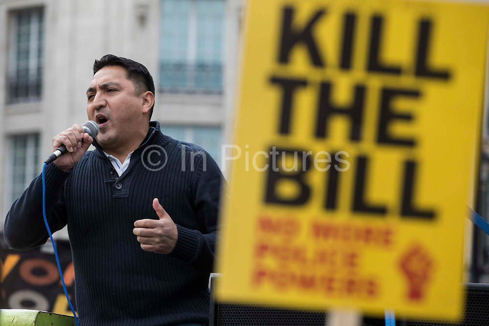 Henry Chango-Lopez, General Secretary of the Independent Workers Union of Great Britain IWGB, addresses thousands of people attending a Kill The Bill demonstration in Trafalgar Square as part of a National Day of Action to mark International Workers Day on 1st May 2021 in London, United Kingdom. Nationwide protests have been organised against the Police, Crime, Sentencing and Courts Bill 2021, which would grant the police a range of new discretionary powers to shut down protests.