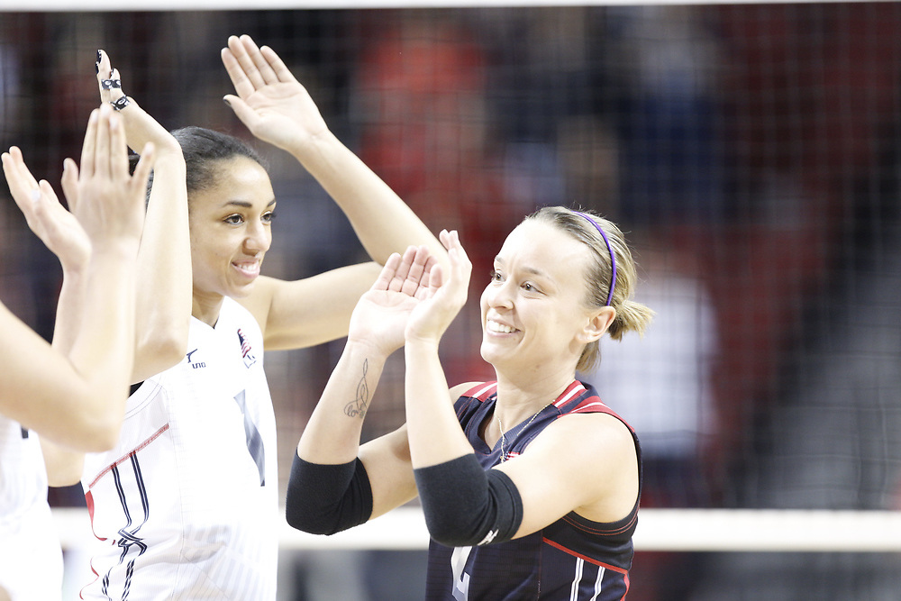 Kayla Banwart #2 is introduced prior to USA Volleyball's 3-0 win over Canada at Pinnacle Bank Arena in Lincoln, Neb., on Jan. 7, 2016. Photo by Aaron Babcock, Hail Varsity