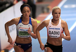 Great Britain's Katarina Johnson-Thompson (left) on her way to winning the Women's Pentathlon 800m and gold in the overall Women's Pentathlon event with Austria's Ivona Dadic in third during day two of the 2018 IAAF Indoor World Championships at The Arena Birmingham.