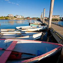 Skiffs tied up at the town landing in Beals Island, Maine.