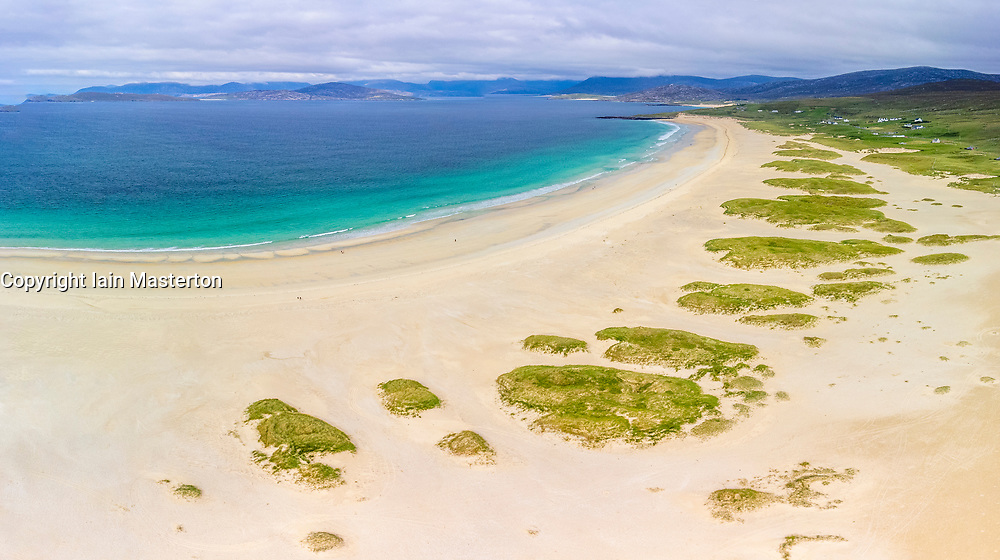 Aerial view from drone  of Scarista Beach on the Isle of Harris, Outer Hebrides, Scotland, UK