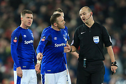 5th January 2018 - FA Cup - 3rd Round - Liverpool v Everton - Wayne Rooney of Everton argues with referee Robert Madeley at half-time - Photo: Simon Stacpoole / Offside.