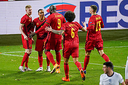 LEUVEN, BELGIUM - Sunday, November 15, 2020: Belgium's Youri Tielemans (2nd from L) celebrates after scoring the first goal with team-mates during the UEFA Nations League Group Stage League A Group 2 match between England and Belgium at Den Dreef. Belgium won 2-0. (Pic by Jeroen Meuwsen/Orange Pictures via Propaganda)