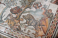 Wild Boar being hunted. Roman mosaic floor of the Room of The Small Hunt, no 25 - Roman mosaics at the Villa Romana del Casale ,  circa the first quarter of the 4th century AD. Sicily, Italy. A UNESCO World Heritage Site. .<br /> <br /> If you prefer to buy from our ALAMY PHOTO LIBRARY  Collection visit : https://www.alamy.com/portfolio/paul-williams-funkystock/villaromanadelcasale.html<br /> Visit our ROMAN MOSAICS  PHOTO COLLECTIONS for more photos to buy as buy as wall art prints https://funkystock.photoshelter.com/gallery/Roman-Mosaics-Roman-Mosaic-Pictures-Photos-and-Images-Fotos/G00008dLtP71H_yc/C0000q_tZnliJD08