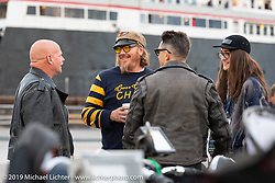 Bruce Redpath (L) and Jason Sims before boarding the SS Badger Lake Michigan ferry during the Cross Country Chase motorcycle endurance run from Sault Sainte Marie, MI to Key West, FL (for vintage bikes from 1930-1948). Stage 2 from Ludington, MI to Milwaukee, WI, USA. Saturday, September 7, 2019. Photography ©2019 Michael Lichter.