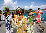 Welcome ceremony, Polynesian dancer, Takapoto, Tuamotu Islands, French Polynesia<br />