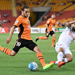 BRISBANE, AUSTRALIA - FEBRUARY 21: Jack Hingert of the Roar shoots on goal during the Asian Champions League Group Stage match between the Brisbane Roar and Muangthong United FC at Suncorp Stadium on February 21, 2017 in Brisbane, Australia. (Photo by Patrick Kearney/Brisbane Roar)