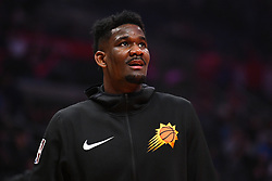 February 13, 2019 - Los Angeles, CA, U.S. - LOS ANGELES, CA - FEBRUARY 13: Phoenix Suns Center DeAndre Ayton (22) looks on before a NBA game between the Phoenix Suns and the Los Angeles Clippers on February 13, 2019 at STAPLES Center in Los Angeles, CA. (Photo by Brian Rothmuller/Icon Sportswire) (Credit Image: © Brian Rothmuller/Icon SMI via ZUMA Press)