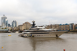 © Licensed to London News Pictures. 24/10/2018. London, UK.  The 308 feet long luxury superyacht Kismet, reportedly owned by Pakistani-American billionaire, Shahid Khan, has arrived in London and moored at Butlers Wharf on the River Thames near Tower Bridge. Mr Khan owns the National Football League (NFL) team, the Jacksonville Jaguars, who are due to play the Philadelphia Eagles in an International Series game at Wembley on Sunday 28th October. Kismet has 6 staterooms, with the master bedroom having its own private deck with jacuzzi and helipad.  Photo credit: Vickie Flores/LNP