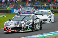 Tom Hibbert (GBR) Privateer exits the chicane, closely followed by Carlito Miracco (GBR) Privateer during Round 16 of the 2019 Millers Oils Ginetta GT4 Supercup at Knockhill Racing Circuit, Dunfermline, Scotland on 15 September 2019.