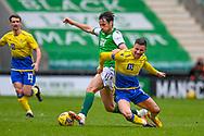 Joe Newell (#11) of Hibernian FC fouls Michael O'Halloran (#11) of St Johnstone FC during the SPFL Premiership match between Hibernian and St Johnstone at Easter Road Stadium, Edinburgh, Scotland on 1 May 2021.