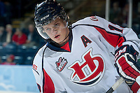 KELOWNA, CANADA - OCTOBER 16: Jaimen Yakubowski #19 of the Lethbridge Hurricanes warms up against the Kelowna Rockets on October 16, 2013 at Prospera Place in Kelowna, British Columbia, Canada.   (Photo by Marissa Baecker/Shoot the Breeze)  ***  Local Caption  ***