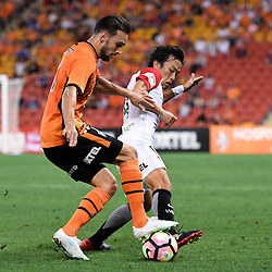 BRISBANE, AUSTRALIA - DECEMBER 22: Jack Hingert of the Roar is tackled byJumpei Kusukami of the Wanderers during the round 4 Foxtel National Youth League match between the Brisbane Roar and Melbourne City at AJ Kelly Field on December 22, 2016 in Brisbane, Australia. (Photo by Patrick Kearney/Brisbane Roar)