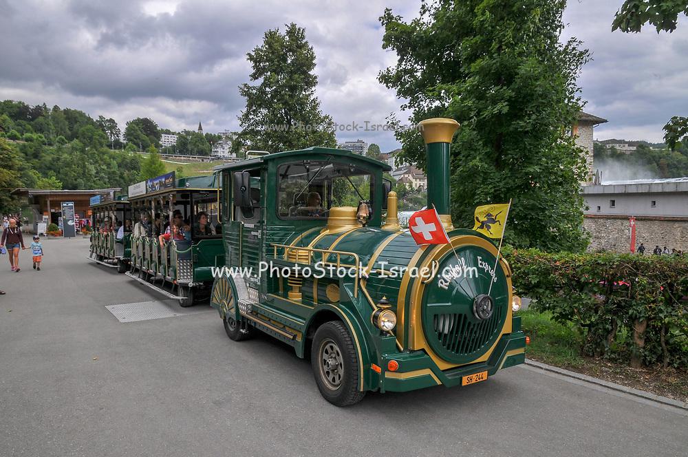 A kiddy train ride at the Rhinefall Schaffhausen, Rhine Falls on the river Rhine, Switzerland