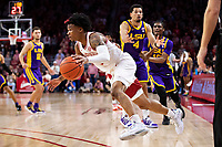 FAYETTEVILLE, AR - MARCH 4:  Desi Sills #3 of the Arkansas Razorbacks drives to the middle and draws a foul during a game against the LSU Tigers at Bud Walton Arena on March 4, 2020 in Fayetteville, Arkansas.  The Razorbacks defeated the Tigers 99-90.  (Photo by Wesley Hitt/Getty Images) *** Local Caption *** Desi Sills
