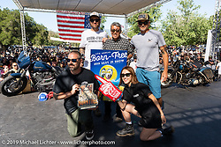 Oliver Jones receiving the Best in Show award that includes a special Mooneyes award and trip (for bike and owner) to their next Yokohama custom show in Japan. Presented by Grant Peterson, Mike Davis, Shige Suganuma, Emi Suganuma and Makoto SatoBorn-Free Vintage Motorcycle show at Oak Canyon Ranch, Silverado, CA, USA. Sunday, June 23, 2019. Photography ©2019 Michael Lichter.