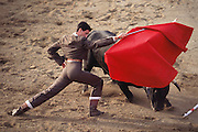 "Bullfight in a ""rent-a-ring"" during the annual festival for the Spanish town of Olite's patron saint. Navarra, Spain."