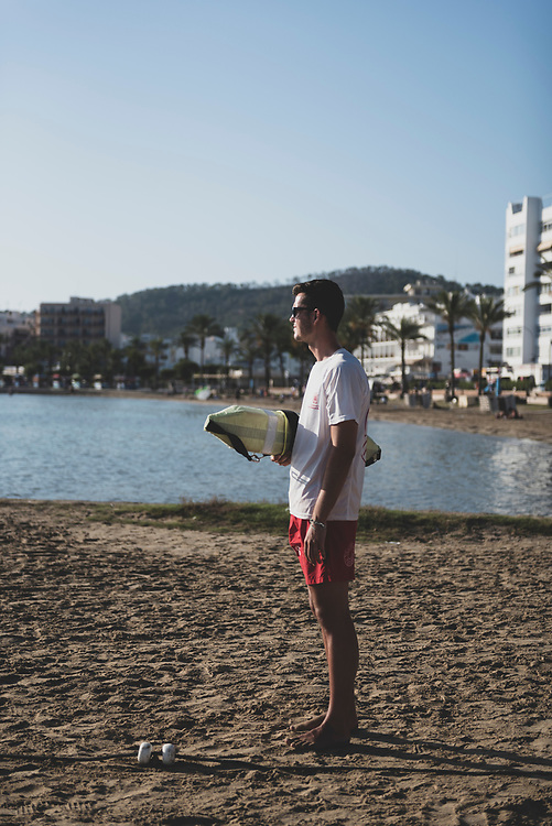 Raul Martinez, from Madrid, working as SOS lifeguard in Sant Antoni, Ibiza, Spain. (July 31, 2018)