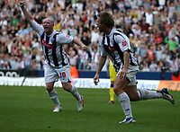 Photo: Rich Eaton.<br /> <br /> West Bromwich Albion v Leeds United. Coca Cola Championship. 30/09/2006. Martin Albrechsten right of West Brom celebrates scoring the first goal of the game with John Hartson #10