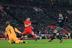 25th January 2017 - EFL Cup (Semi-Final) - Liverpool v Southampton - Liverpool goalkeeper Loris Karius saves at close range from Dusan Tadic of Southampton - Photo: Simon Stacpoole / Offside.