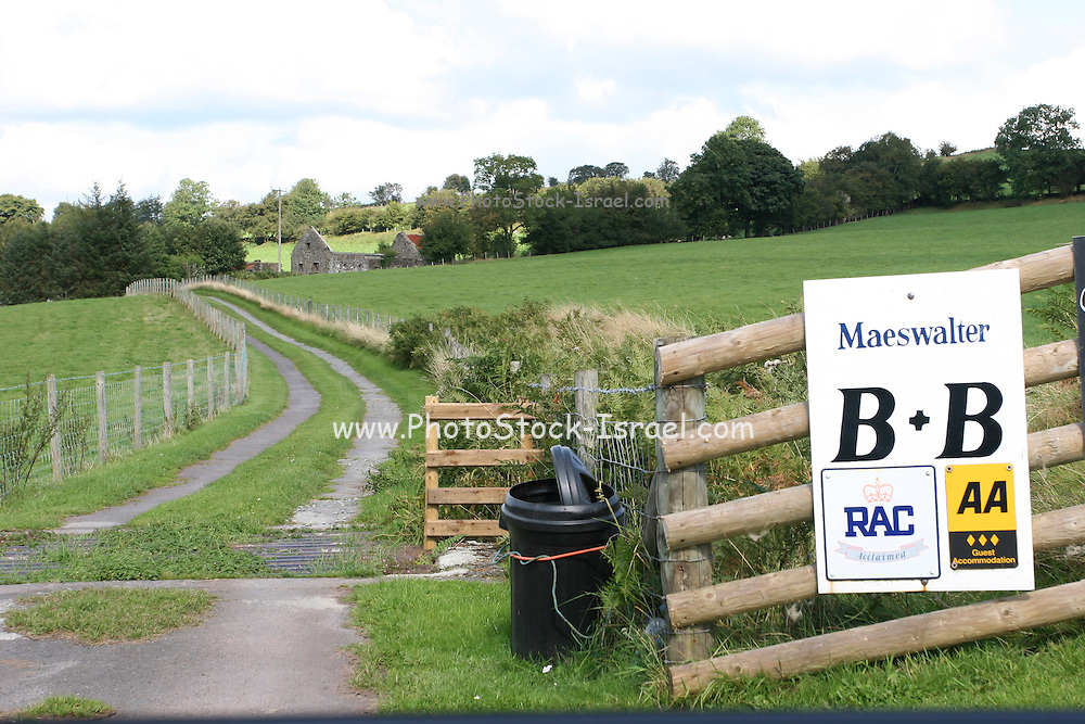 UK, Wales, A Bed and Breakfast (B&B) sign