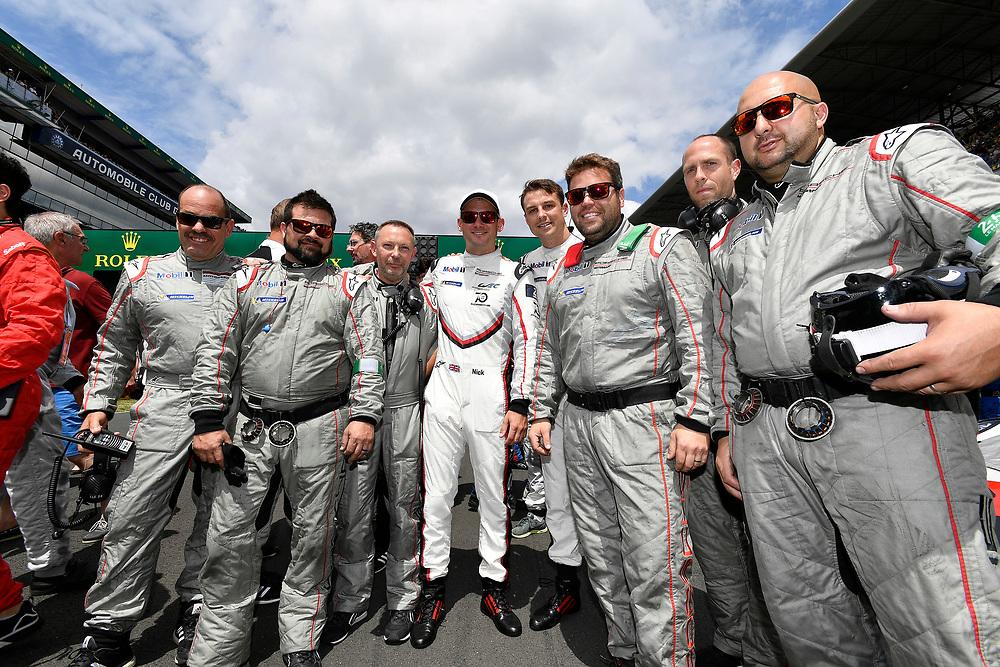 #93 Porsche GT Team Porsche 911 RSR:  Nick Tandy, crew, pre-race, grid walk<br /> Saturday 16 June 2018<br /> 24 Hours of Le Mans<br /> 2018 24 Hours of Le Mans<br /> Circuit de la Sarthe  FR<br /> World Copyright: Scott R LePage