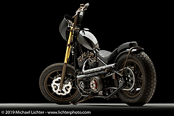 """""""Hush Your Mouth"""", A black performance Chopper , built from a 1975 Shovelhead, by Chris Graves. in Milwaukee, WI. Photographed by Michael Lichter in Sturgis, SD on 7/29/18. ©2018 Michael Lichter."""