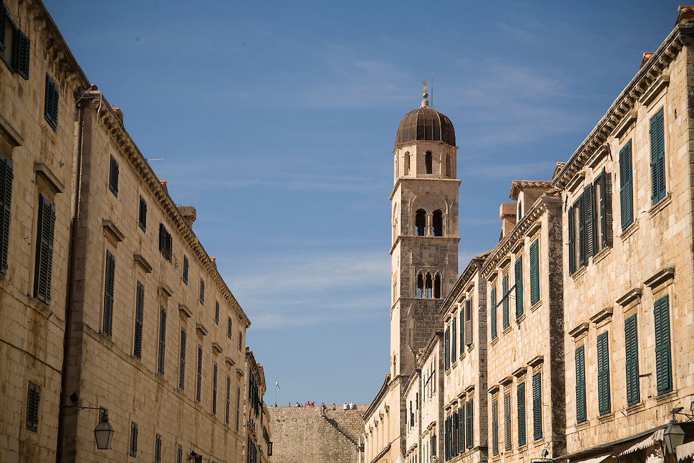 Europe, Croatia, Dalmatia, Dubrovnik.  Stradun (also known as Placa), the main street which crosses the old city.  The historic center of Dubrovnik is a UNESCO World Heritage site.
