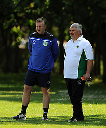 Yeovil Town Coach Terry Skiverton and Manager Paul Sturrock look on. - Photo mandatory by-line: Harry Trump/JMP - Mobile: 07966 386802 - 03/07/15 - SPORT - FOOTBALL - Pre Season - Yeovil Town Training - Sherborne School, Dorset, England.