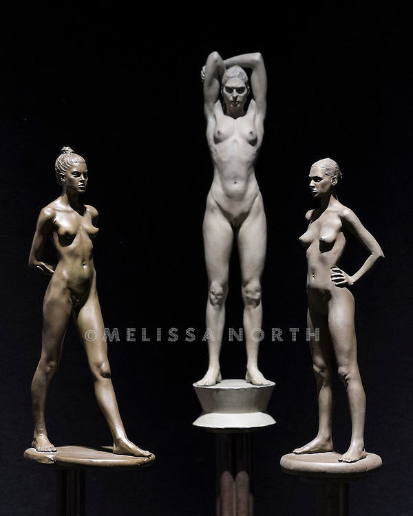 Elisa, Gabrielle and Christine by Robert Graham, bronze with light brown patina on brass base, est £13,000-20,000, £16,000-23,000 and £13,000-20,000 respectively, at a preview of the auction highlights from the Estate of Lauren Bacall, at Bonhams, London, UK on 13th February 2015. The preview of 50 selected lots features works by Henry Moore, David Hockney, Robert Graham, Noel Coward and Jim Dine - and is due to be auctioned at Bonhams New York on 31 March and 1 April 2015.