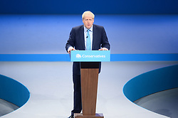 © Licensed to London News Pictures. 02/10/2019. London, UK. British Prime Minister BORIS JOHNSON makes a keynote speech at the end of the Conservative party conference. Photo credit: Ray Tang/LNP