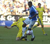 Photo: Matt Bright.<br /> Brighton and Hove Albion v Leeds United. Coca Cola League 1. 20/10/2007.<br /> Ian Westlake of Leeds Utd takles  Bas Savage of Brighton