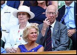 July 7, 2018 - London, London, United Kingdom - Wimbledon Tennis Championships-Day Six. Sir Bobby Charlton in the Royal box on Centre court on Day Six of the Wimbledon Tennis Championships, at 3pm as the England v sweden game starts in the world cup  (Credit Image: © Andrew Parsons/i-Images via ZUMA Press)