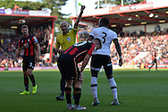 Tottenham Hotspur defender Danny Rose gets a yellow card for a tackle on AFC Bournemouth's midfielder Matt Ritchie during the Barclays Premier League match between Bournemouth and Tottenham Hotspur at the Goldsands Stadium, Bournemouth, England on 25 October 2015. Photo by Mark Davies.