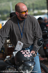 Jon Dobbs at the finish line in Williams during the Motorcycle Cannonball Race of the Century. Stage-12 ride from Page, AZ to Williams, AZ. USA. Thursday September 22, 2016. Photography ©2016 Michael Lichter.