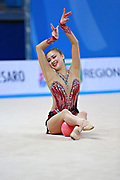 Son Yeon Jae during final at ball in Pesaro World Cup 03 April 2016. Yeon Jae is an Korean individual rhythmic gymnast, she was born  28 May, 1994 Seoul, Republic of Korea. After the 2016 Olympic Games Son decided to stop the competitive activity.
