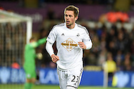 Gylfi Sigurdsson of Swansea city looks on. Barclays Premier league match, Swansea city v Queens Park Rangers at the Liberty stadium in Swansea, South Wales on Tuesday 2nd December 2014<br /> pic by Andrew Orchard, Andrew Orchard sports photography.