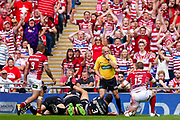Wigan Warriors prop Tony Clubb (15) asks todays referee Phil Bentham for the try, but it's not given during the Ladbrokes Challenge Cup Final 2017 match between Hull RFC and Wigan Warriors at Wembley Stadium, London, England on 26 August 2017. Photo by Simon Davies.