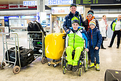 Jernej Slivnik and  Roman Podlipnik  with supporters prior to the departure of Slovenian Paralympic team for Pyeongchang 2018 Winter Paralympics, on March 3, 2018 in Letalisce Jozeta Pucnika, Brnik, Slovenia. Photo by Vid Ponikvar / Sportida