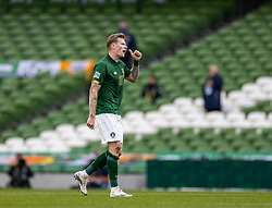 DUBLIN, REPUBLIC OF IRELAND - Sunday, October 11, 2020: Republic of Ireland's James McClean walks off after being shown the red card and sent off during the UEFA Nations League Group Stage League B Group 4 match between Republic of Ireland and Wales at the Aviva Stadium. The game ended in a 0-0 draw. (Pic by David Rawcliffe/Propaganda)