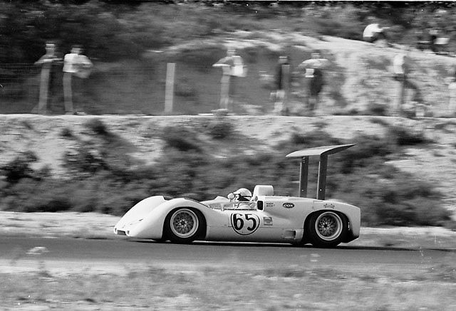Phil Hill in Chaparral 2E during its debut race at the 1966 Bridgehampton Can-Am, photo by Pete Lyons