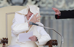 Apr 26, 2017 - Vatican City State (Holy See) - A gust of wind blows POPE FRANCIS' mantle during his Wednesday general audience in Saint Peter's square at the Vatican.  (Credit Image: © Evandro Inetti via ZUMA Wire)