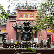 The outside courtyard at the Jade Emperor Pagoda in the Da Kao district of Ho Chi Minh City, Vietnam. The Chinese temple was built in 1909 and contains elements of both Buddhist and Taoist religions.
