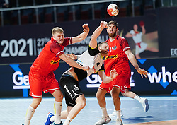 14.01.2021, 6th of October Sports Hall, Gizeh, EGY, IHF WM 2021, Österreich vs Schweiz, Herren, Gruppe E, im Bild Lukas Hutecek, Lenny Rubin, Boris Zivkovic, // during the IHF men's World Championship group E match between Austria and Switzerland at the 6th of October Sports Hall in Gizeh, Egypt on 2021/01/14. EXPA Pictures © 2020, PhotoCredit: EXPA/ Diener/Eva Manhart<br /> <br /> *****ATTENTION - OUT of AUT and SUI*****