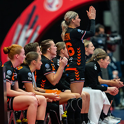 Dutch team on the bench celebrate  during the Women's EHF Euro 2020 match between Netherlands and Hungry at Sydbank Arena on december 08, 2020 in Kolding, Denmark (Photo by RHF Agency/Ronald Hoogendoorn)
